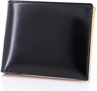 F.shion 財布 メンズ 二つ折り財布 コードバン × 牛革 小銭入れ 化粧箱付き 本革 二つ折り イタリア製