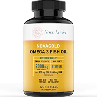 Omega 3 Burpless Fish Oil Supplement 2000mg Max Strength Maintain Healthy Heart, Sharper Brain, Shiny Hair, Boost Immune System, High Potency EPA & DHA Vitamin E, Non-GMO 120 Small Liquid Softgels