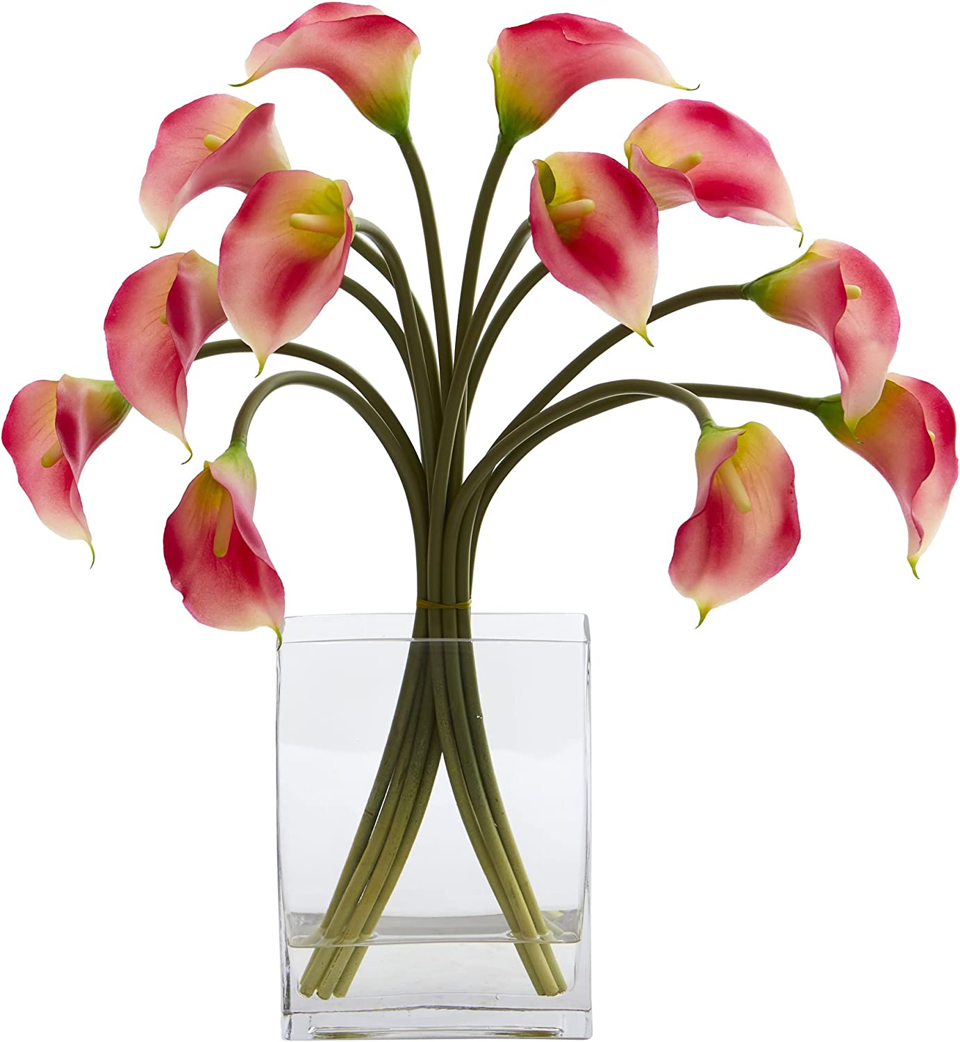 Nearly Natural 1608-PK Calla Lily Artificial Vase Silk Arrangements Pink