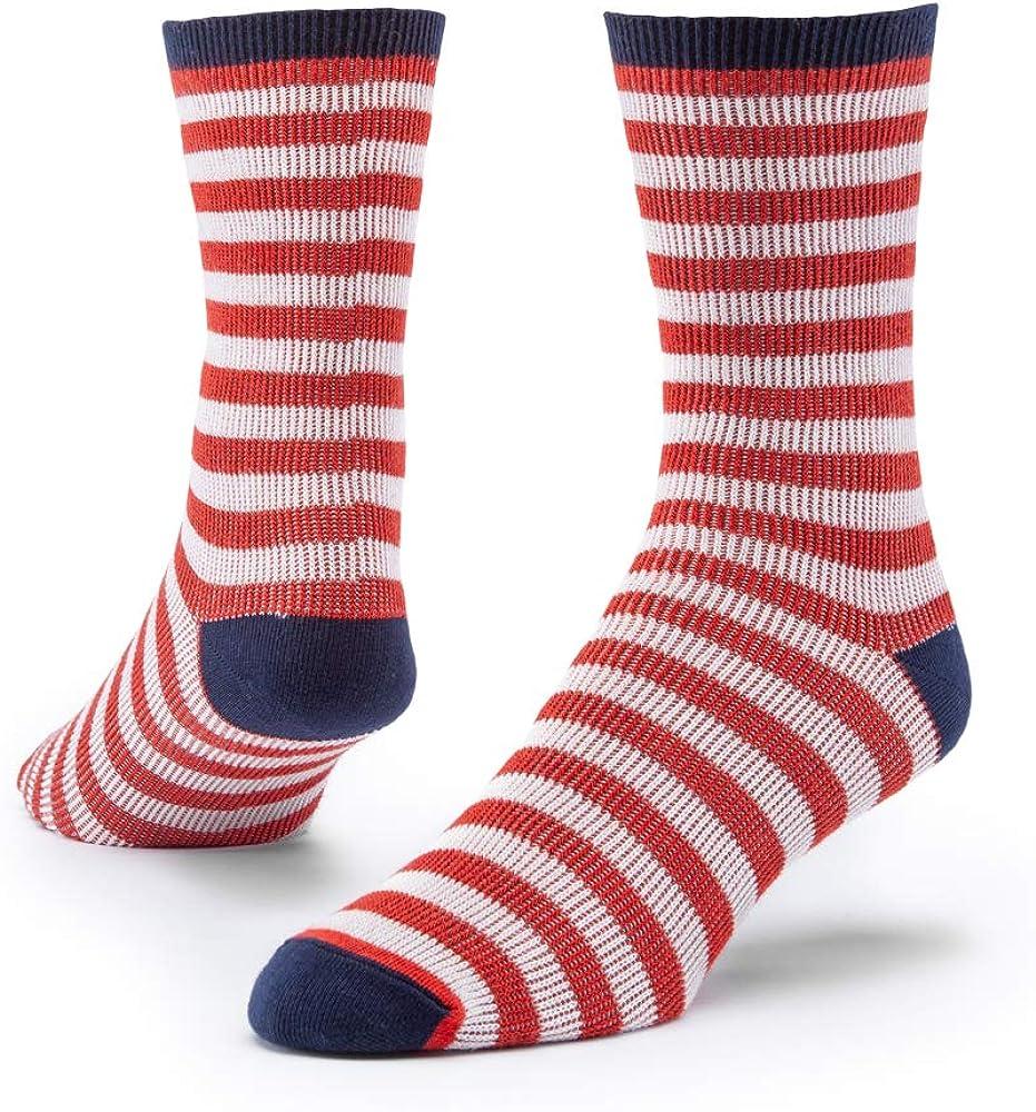 Maggie's Organics - Organic Cotton Trouser Socks Pattern - 1 Pair Unisex (Red/White Stripe-Large)