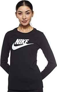 Nike Women's Essntl Long Sleeve Icon Ftra T-Shirt, Black (Black/White)