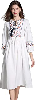 Womens Casual 3/4 Sleeve Floral Embroidered Mexican Peasant Dressy Tops Blouses Shirt Dress Tunic