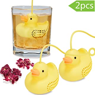 2 Pieces Silicone Tea Infuser for Loose Leaf Tea, Cute Yellow Duck Non-toxic Tea Filters Tea Cup Strainer Kitchen Accessories