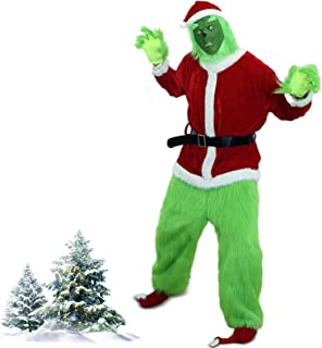 Grinch Costume Adult, Plush Christmas Santa Claus Costume Suit for Men/Women with Mask 7 Pcs Green Monster Outfit