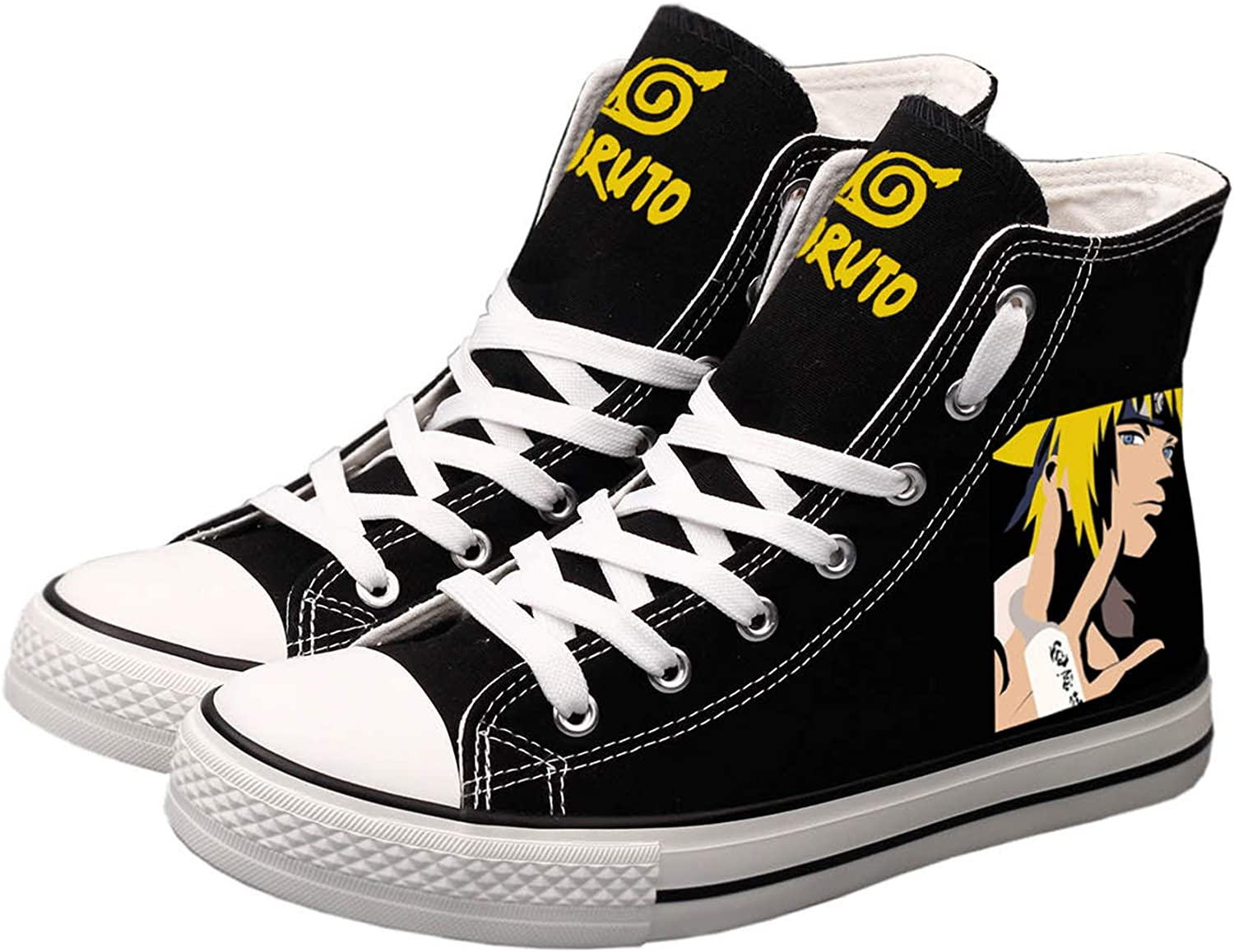BEGOOTION Naruto Canvas shoes Hand-Painted Canvas shoes Casual Cosplay High Top Sneakers Unisex Designs Black 10 M US (CN 44)