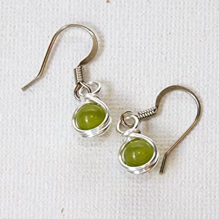 Small Sage Green Drop Earrings - Handmade Wire Wrapped Jewelry
