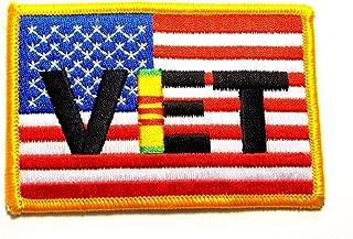 Vietnam Veteran Ribbon on U.S. Flag Military Embroidered Patch Iron Sew PWPM5054