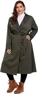 IN'VOLAND Plus Size Women's Trench Coat Long Jacket Windbreaker Overcoats