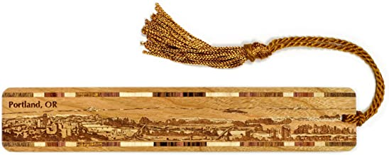 product image for Portland Oregon Skyline Engraved Wooden Bookmark with Tassel - Also Available Personalized