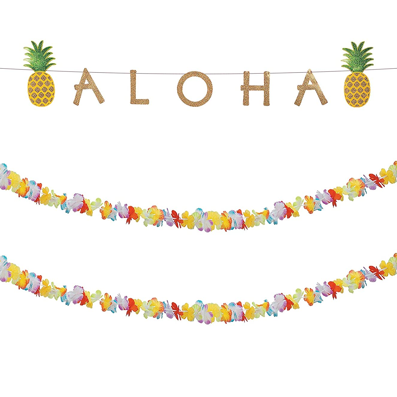 Aloha Banner and Lei Garland Set for Luau Party Decoration