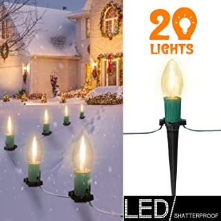 25 FT C9 Christmas Pathway Lights with 20 LED Shatterproof Bulbs and 20 Stakes- UL listed Walkway Christmas Stake Lights, for Outdoor Walkway Lights/Driveway Christmas Lights Use, Green Wire