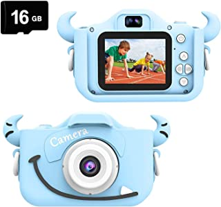Kids Camera, Child Camera Digital 8.0MP, Mini Toy Camera for Boys Gift Aged 3-10, Shockproof Children Camera 2.0 inch Screen 1080P HD Toddler Video Recorder, Dual Camera Camcorder with 16GB SD Card …