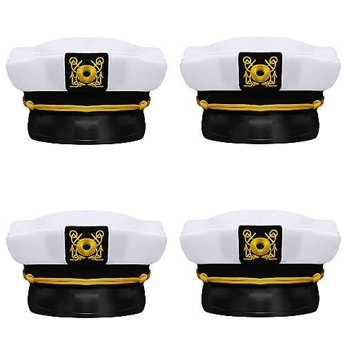 88d23e18ff5a1 Bottles N Bags Nautical Captain White Sailor Hat (4 Pack) Captain s Hats  are A