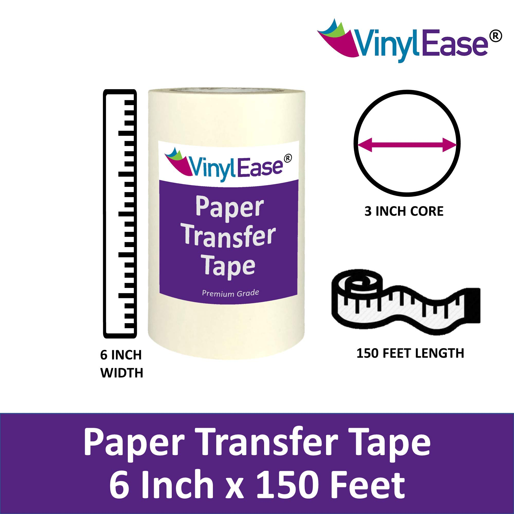 V0843 Works with a Variety of Vinyl Wall Words and More Signs Vinyl Ease 6 inch x 150 feet roll of Paper Transfer Tape with a Medium Tack Layflat Adhesive Great for Decals