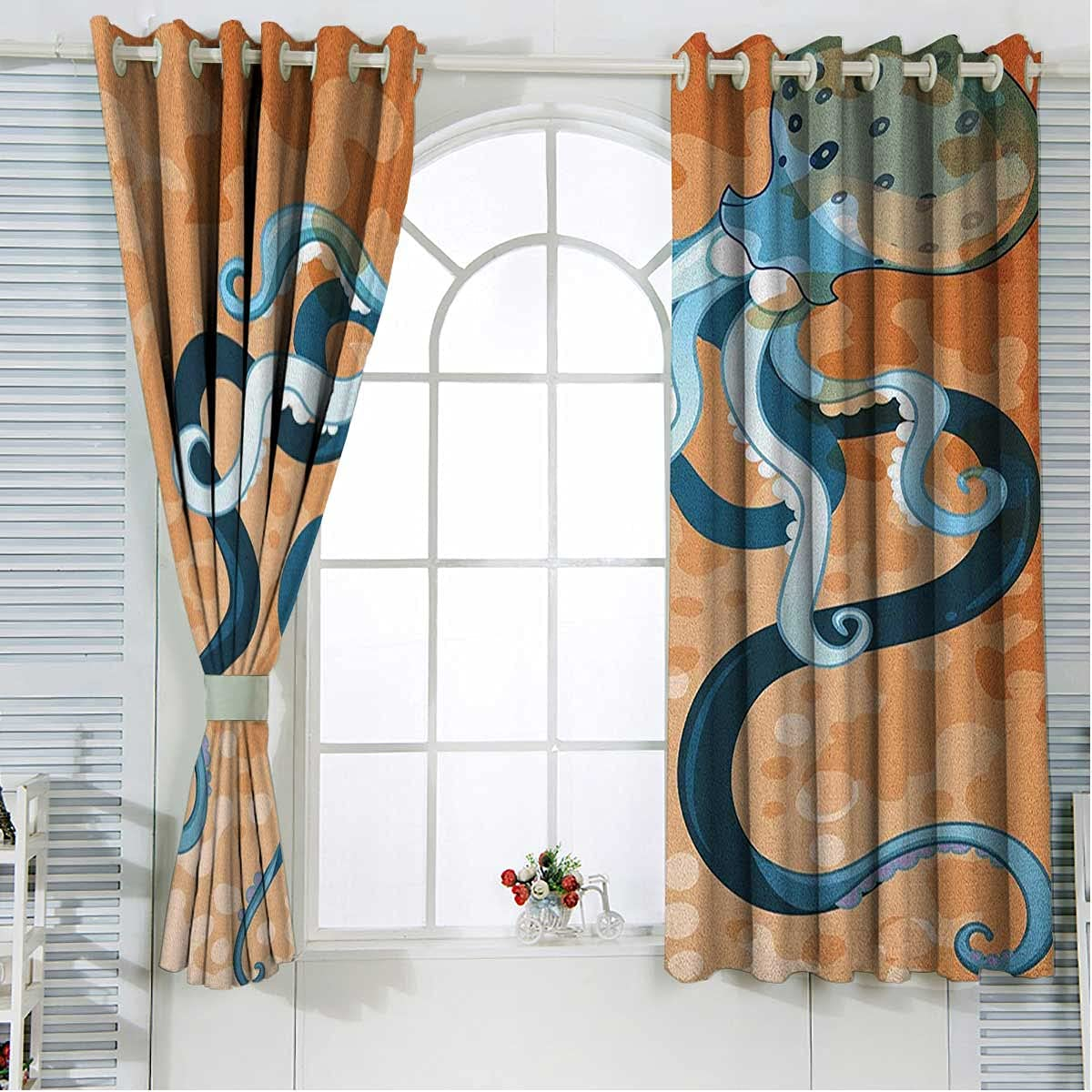 2021 autumn and winter new Octopus Ranking TOP4 Window Curtain Panels 63 Inches Room Orange Blue Length
