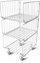 Wopulite Metal Wire Baskets, 3 Tiers Foldable Stackable Rolling Baskets Utility Shelf Unit Storage Organizer Bin with Whee...