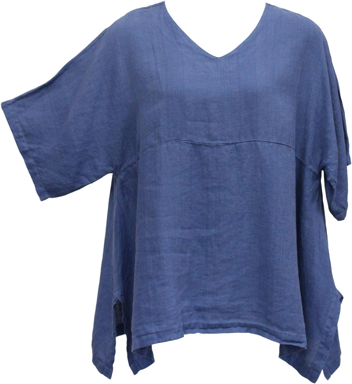 Match Point Women's Linen Kimono Oversized Tunic Dark Blue