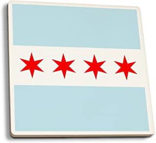 Lantern Press Chicago, Illinois - Flag (Version #2) (Set of 4 Ceramic Coasters - Cork-Backed, Absorbent)