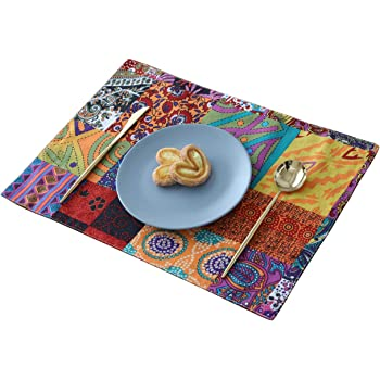 Amazon Com Kepswet Placemats Set Of 4 Double Layer Place Mats For Dining Table Cotton Linen Retro Ethnic Style Bohemian Decorative Placemat For Kitchen Table 12 X 17 Home Kitchen