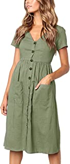 Women's Dresses-Short Sleeve V Neck Button T Shirt Midi Skater Dress with Pockets
