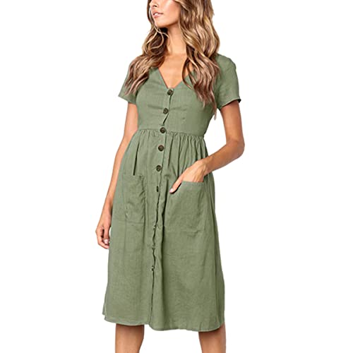 Angashion Women s Dresses-Short Sleeve V Neck Button T Shirt Midi Skater  Dress with Pockets 628f07174
