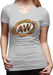 JohnnyKJayTee Women's A&W Root Beer Logo Leisure T-Shirts Gray with Creative Printed Short Sleeve