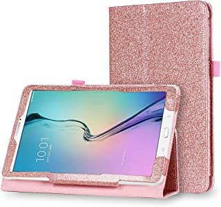 Samsung Galaxy Tab E Lite 7.0 Inch Bling Leather Case - HAPPYTOY Luxury Full Bling Glitter Sparkle Protective Flip Leather Cover Auto Wake/Sleep - Rose Gold