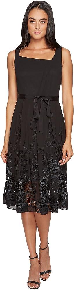 Embroidered Hem Chiffon Dress