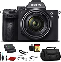 Sony Alpha a7 III Mirrorless Digital Camera with 28-70mm Lens (ILCE7M3K/B) with Bag, Extra Battery, 64GB Memory Card, Memory Card Reader and More.