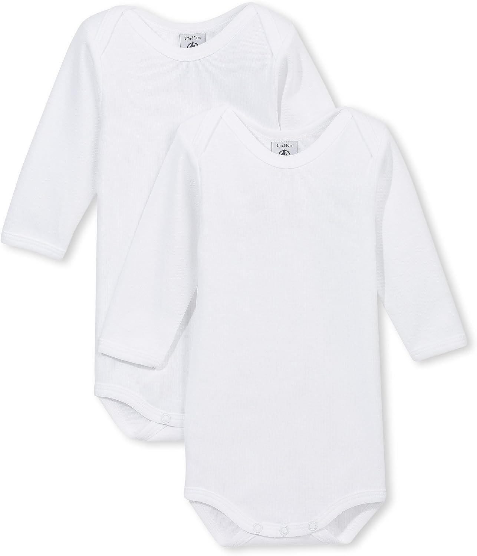 Free shipping / New sale Petit Bateau Unisex 2 Pack Onesies 15082 Long Sleeves Size Style