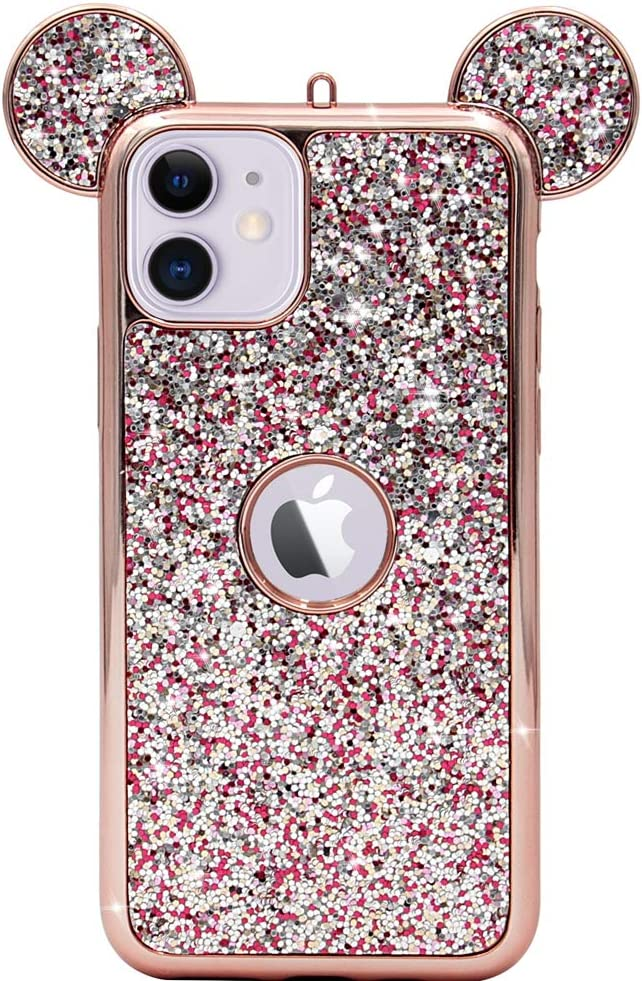 MC Fashion iPhone 11 Case, Cute 3D Sparkly Bling Glitter Mickey Mouse Ears Case for Teens Girls Women, Slim Fit Full-Body Protective Soft TPU Case for Apple iPhone 11 6.1 inch 2019 (Rose Gold)