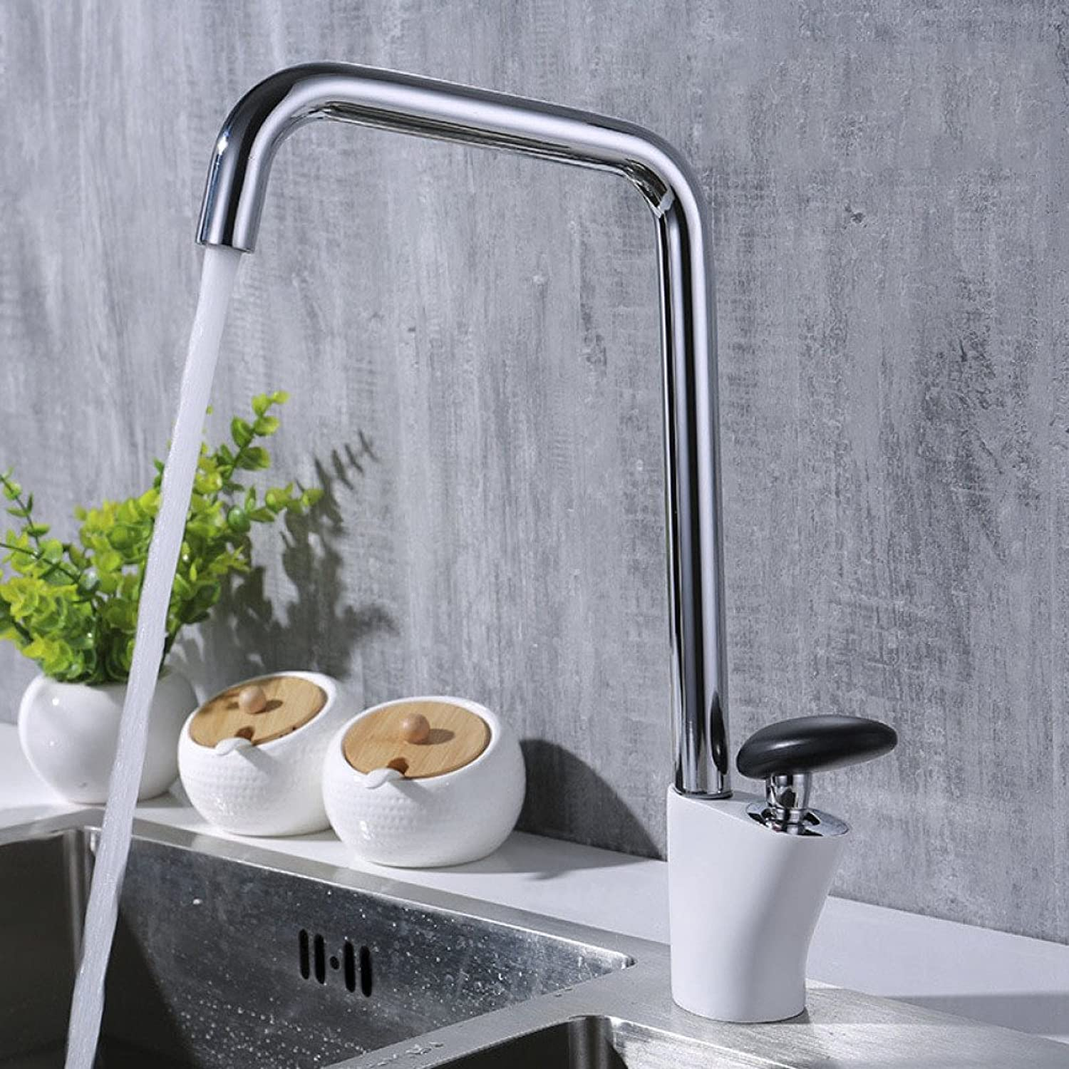 LPW Water tap chrome splash-proof turbulent hot and cold faucet horizontal 360-degree water flow semolina copper faucet