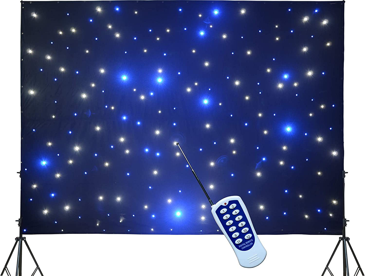 KHXED LED backdrop 3m x 4m Blue Don't miss the campaign and RC Curtain white DM Luxury goods Star