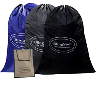 "3 Pack Laundry Bag - 28""x40"" Dirty Clothes Bag, Nylon Bag Travel Drawstring, Rip-Stop Large Laundry Hamper, Heavy Duty, Ma..."