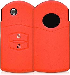 kwmobile Autoschlüssel Hülle kompatibel mit Mazda 2 Tasten Autoschlüssel   Silikon Schutzhülle Schlüsselhülle Cover in Rot