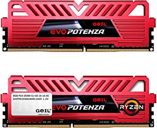GeIL 16GB (2 x 8GB) EVO POTENZA AMD DDR4 PC4-19200 2400MHz Desktop Memory Model GAPR416GB2400C16DC