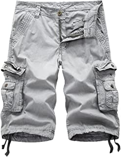 FOURSTEEDS Women's Cotton Loose Fit Zipper Multi-Pockets Twill Bermuda Drawstring Women Cargo Shorts