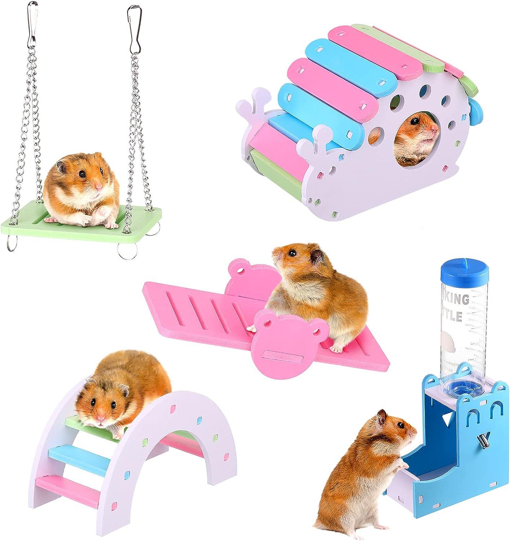 Patelai free 5 Pieces Hamster Toys DIY Kansas City Mall Hideout House Wooden E