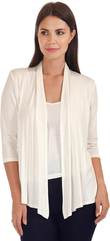 DFF Shop Women's Lightweight Open Drape 3/4 Sleeve Cardigan (Size: S - 5X)