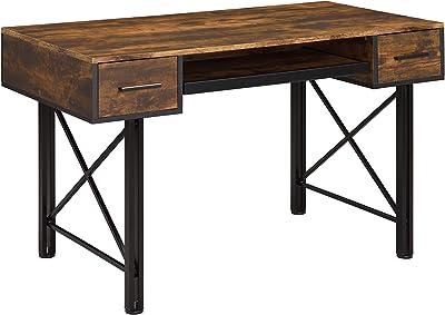 Amazon Com Analiese 4 Drawer Writing Desk Antique Nutmeg And Black Furniture Decor