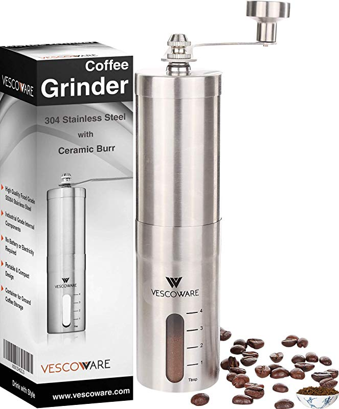 Manual Coffee Grinder With Conical Burr Hand Bean Mill With Adjustable Settings For Espresso French Press Cold And Turkish Brew By Vescoware Stainless Steel