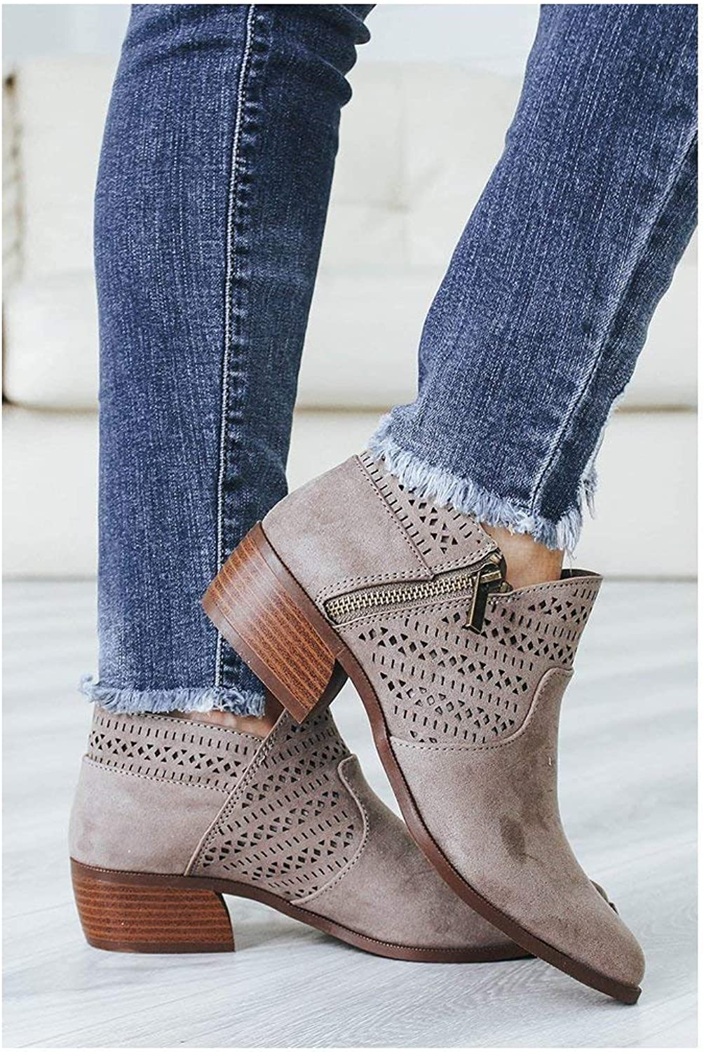 Women Pattern Perforated Short Booties