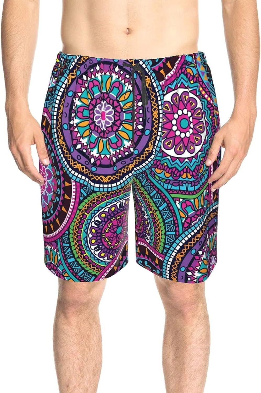JINJUELS Men's Swim Trunks Boho Hippie Mandala Swim Short Boardshort Drawstring 3D Printed Summer Beach Shorts