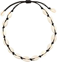 Hugitout Women`s Natural Cowrie Shell Necklace, Handmade Shell Choker Adjustable Necklace Hawaii Beach Boho Jewelry