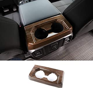 Wood Grain Armrest Box Rear Cup Holder Trim for Ford F150 2016 2017
