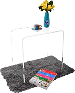 "WAHFAY Acrylic End Table, 21"" L x 12"" W x 21"" H x 1/2'' Thick, Modern Clear Small Side Table for Living Room, Waterfall Sofa Narrow End Table with Rounded Edges"