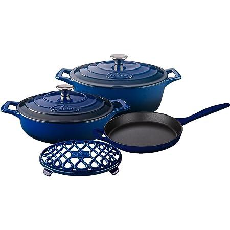 """La Cuisine Piece Enameled Cast Iron Cookware Blue 6 pc Set, Pro Range 3.75QT Saute 6.75QT Oval w/lid 10"""" Fry 7"""" Triv, Ultramarine"""