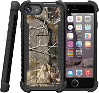 MINITURTLE Compatible with Apple iPhone 7 | iPhone 7s Case [Shockwave Armor] Hybrid Shock Resistant Silicone Hard Exterior Stand Fallen Leaves Camouflage