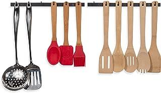 Wallniture Puno Kitchen Drawer Organizer Racks with Hooks, Wall Mount Utensil Holder Silverware Organizer Black set of 2