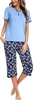 Irevial Pijamas para Mujer,Pijama a Rayas para Mujer Camiseta y Pantalones De Algodón De Manga Corta Conjunto Ropa De Dorm...
